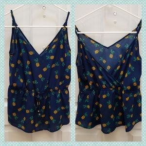 Lily White Pineapple Tank Top